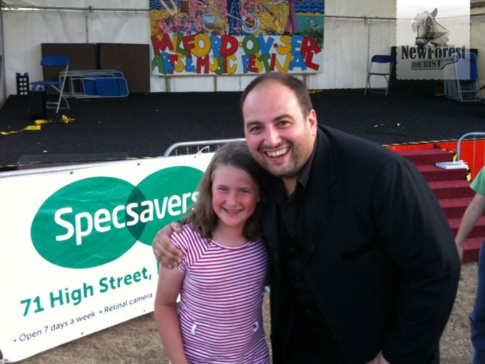 Wynne Evans after a Three Tenors performance, with fan
