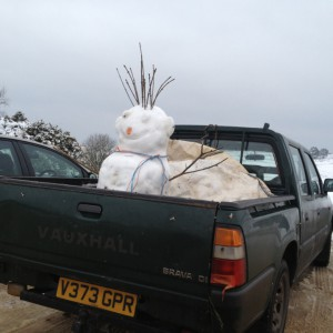 Snowman at Longslade Bottom