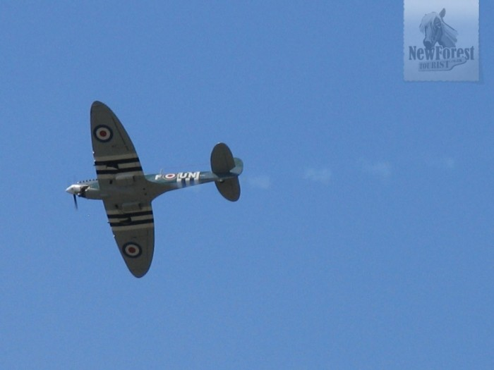 Model Spitfire over Beaulieu Plain