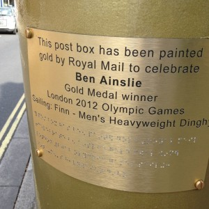Ben Ainslie's gold letterbox - now and forever with a shiny new plaque!
