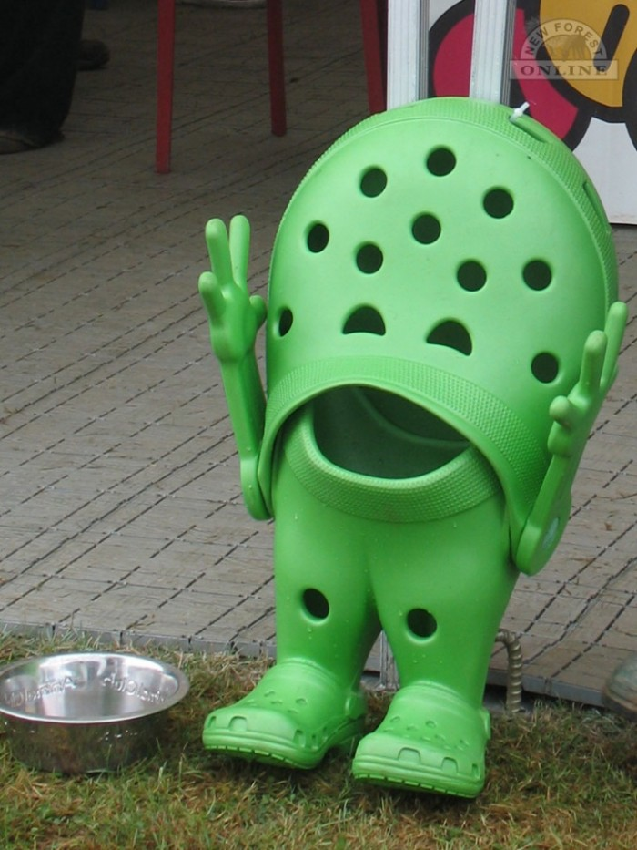A happy croc scaring the bejesus out of any dogs foolish enough to approach the water bowl.