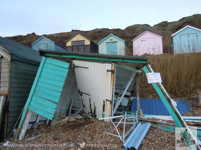 A beach hut destroyed