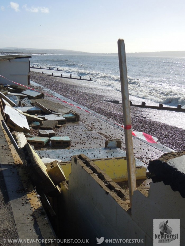 Sturdy beach huts destroyed
