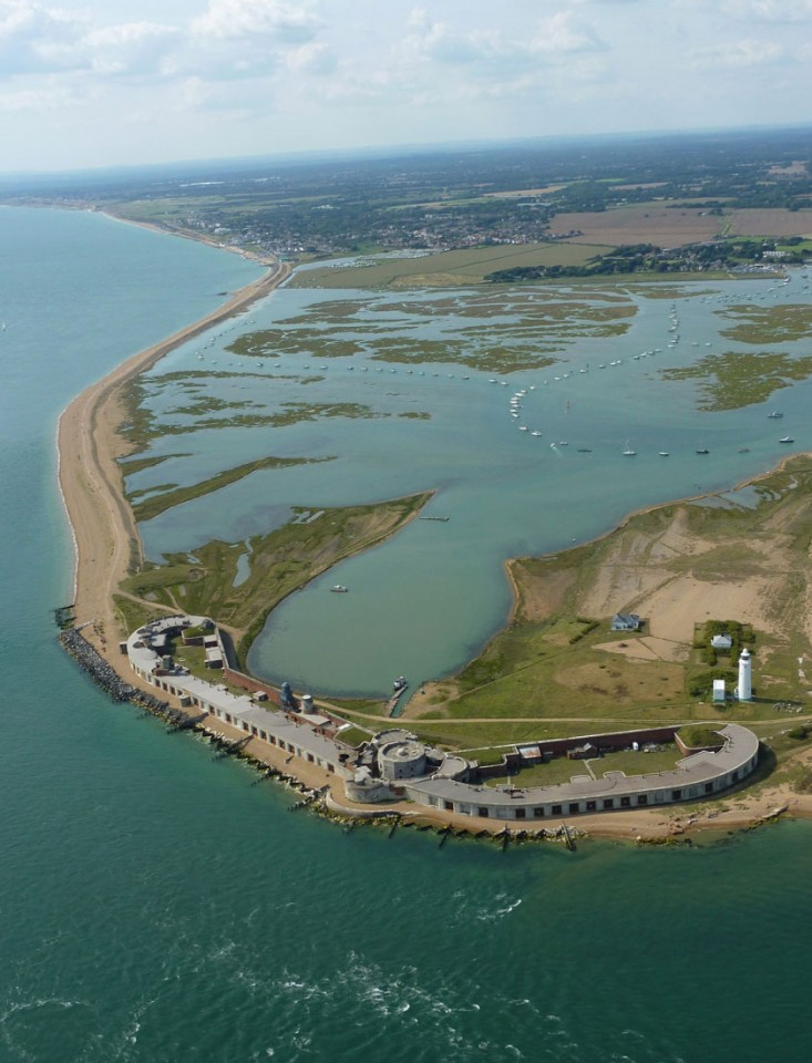 Hurst Castle aerial image looking towards Milford